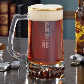 Calvin Gold Rimmed Personalized Beer Mug