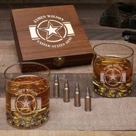 Army Strong Engraved Bullet Whiskey Stone Set Army Gifts for Him