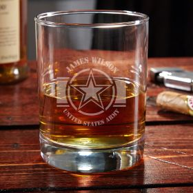 Army Strong Etched Eastham Rocks Glass Army Gift