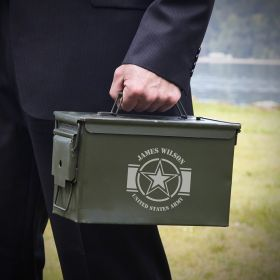Army Strong Engraved 50 Cal Ammo Can Army Gift