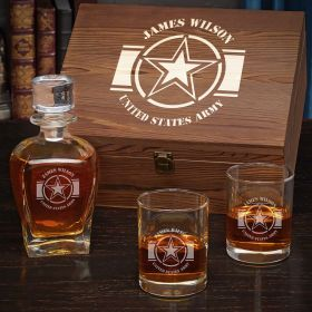 Army Strong Personalized Whiskey Army Retirement Gift Set
