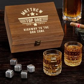 Top Dad Engraved Whiskey Stone Box Set Gift for Dad