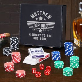 Top Dad Black Personalized Leatherette Poker Set Gift for Dad