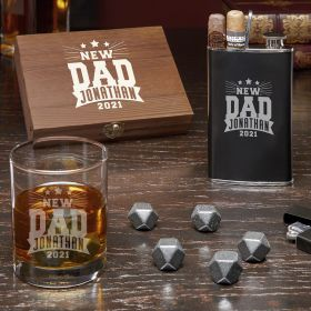 Rockstar New Dad Engraved Black Onyx Whiskey Set New Dad Gift