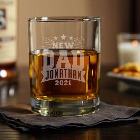 Rockstar New Dad Custom Whiskey Glass New Father Gift