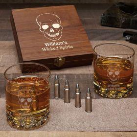 Phantom Skull Personalized Buckman Set with Bullet Whiskey Stones