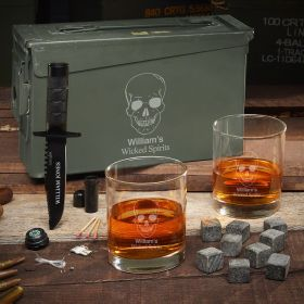 Phantom Skull 30 Cal Custom Whiskey Ammo Can - Manly Gifts