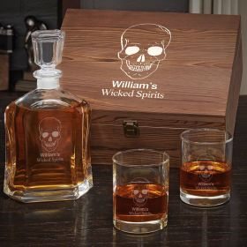 Phantom Skull Personalized Whiskey Decanter Set