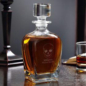 Phantom Skull Draper Engraved Whiskey Decanter