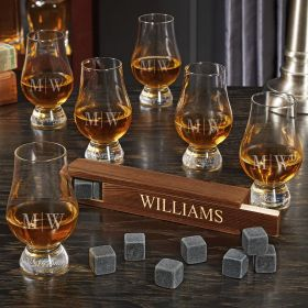 Quinton Custom Whiskey Stone Set with 6 Glencairn Whiskey Tasting Glasses