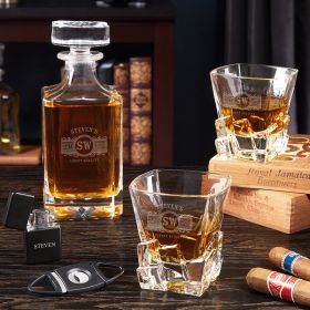 Marquee Engraved Crystal Whiskey Decanter Set with Iceburg Glasses