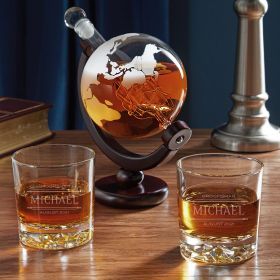 Stanford Fairbanks Personalized Glasses with Globe Decanter Set