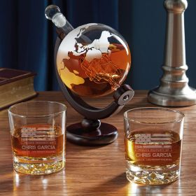 American Heroes Etched Globe Decanter Set of Military Gifts