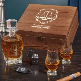 Liberty Scale Engraved Draper Glencairn Box Set Whiskey Gifts for Lawyers