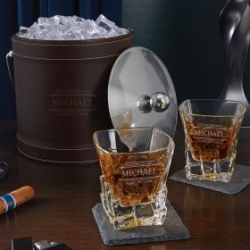 Stanford Personalized Ice Bucket Whiskey Gift Set with Iceburg Glasses