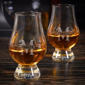 Oakmont Engraved Glencairn Glasses Pair