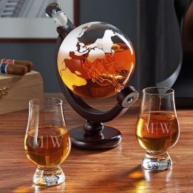 Quinton Globe Decanter Set with Personalized Glencairn Glasses