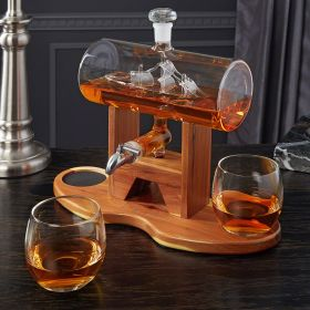 Ship in a Bottle Decanter With Two Glasses