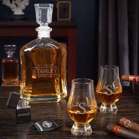 Stanford Argos Custom Decanter Set with Glencairn Whiskey Glasses