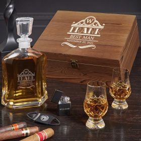 Rockefeller Engraved Argos Whiskey Decanter Set with Crystal Glencairn Glasses