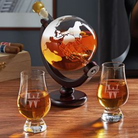 Oakmont Personalized Globe Decanter Set with Glencairn Glasses
