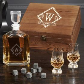 Personalized Drake Whiskey Decanter Set with Crystal Glencairn Glasses