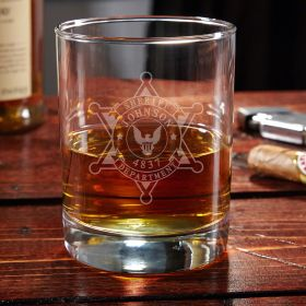 Sheriff Badge Engraved Eastham Whiskey Glass Sheriff Gift