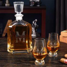 Oakmont Engraved Argos Whiskey Decanter Set with Glencairn Glasses