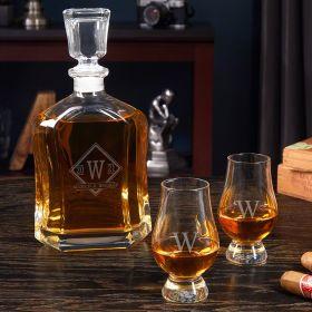 Drake Personalized Argos Bourbon Decanter Set with Glencairn Glasses