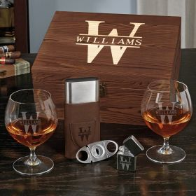 Oakmont Opus Engraved Cognac Glass Set with Cigar Gifts