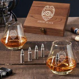 Police Badge Custom DiMera Bullet Whiskey Stone Set Police Officer Gift