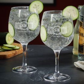Marquee Personalized Gin and Tonic Glasses