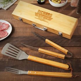 Maverick Engraved Bamboo BBQ Tools Gifts for Groomsmen