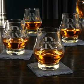 Oakmont Engraved Wescott Double Snifters Whiskey Taster Glasses Set of 4