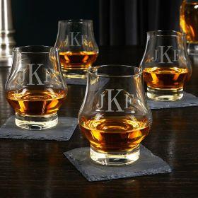 Classic Monogram Custom Wescott Double Snifter Whiskey Tasting Glasses Set of 4