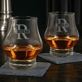 Oakmont Etched Wescott Double Snifter Whiskey Taster Glasses Set of 2