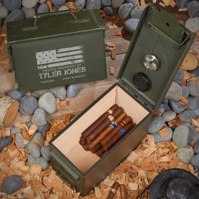 American Heroes Personalized 50 Cal Cigar Humidor Military Gift