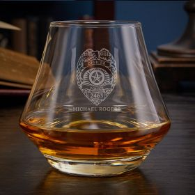 Police Badge Engraved DiMera Whiskey Glass Gift for Police Officer