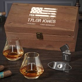 American Heroes Personalized DiMera Whiskey and Cigar Military Gifts