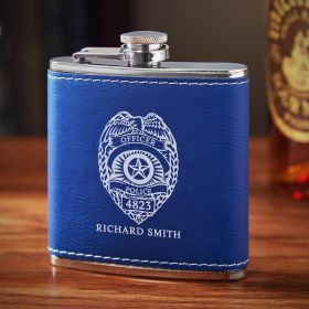 Police Badge Engraved Blue Leather Flask Police Gift