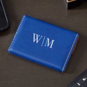Quinton Engraved Blue Leather Business Card Holder
