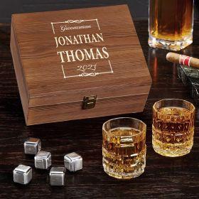 Monroe Personalized Whiskey Stones Gift Set