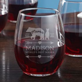 Mama Bear Engraved Stemless Wine Glass Gift for Mom