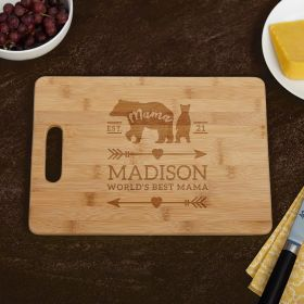 Mama Bear Custom Cutting Board Mom Gift