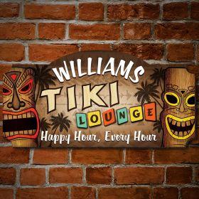 Personalized Tiki Lounge Tiki Bar Sign