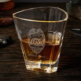 Police Badge Personalized Euclid Whiskey Glass Gift for Police Officers