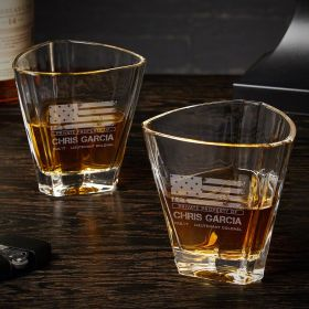American Heroes Custom Euclid Set of 2 Whiskey Glasses Military Gifts