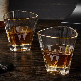 Oakmont Euclid Engraved Bourbon Glasses Set of Two