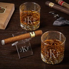 Classic Monogram Engraved Buckman Whiskey Glass Set with Cigar Stand
