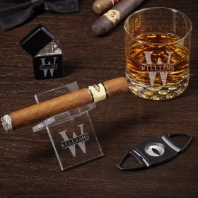 Oakmont Personalized Cigar Gift Set with Buckman Glass